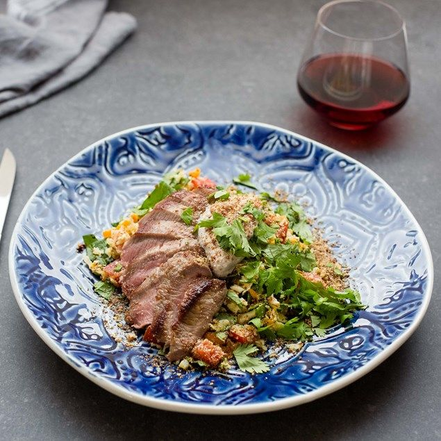 Lamb with Cauliflower Couscous, LSA and Spicy Chai Coconut Yoghurt