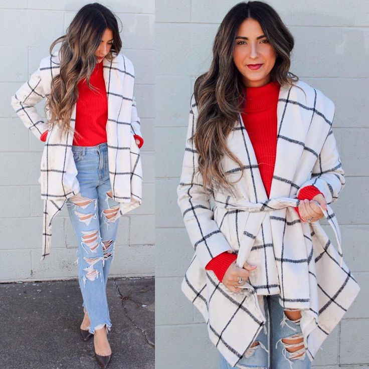 412 отметок «Нравится», 2 комментариев — Chicwish (@chicwish) в Instagram: «Casual red V-day outfit. #chicwish check coat ( search T20171018001)»