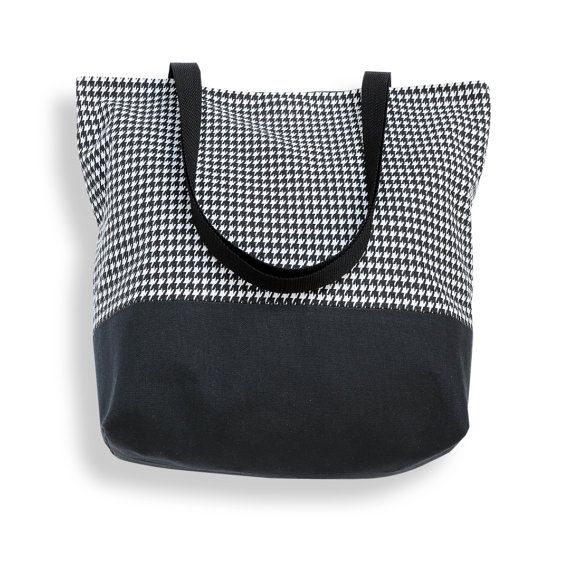 Klassieke Houndstooth doek Tote tas in zwart-wit - markt Tote, strandtas, Carryall tas, klassieke Tote, boek tas, Weekend tas of portemonnee