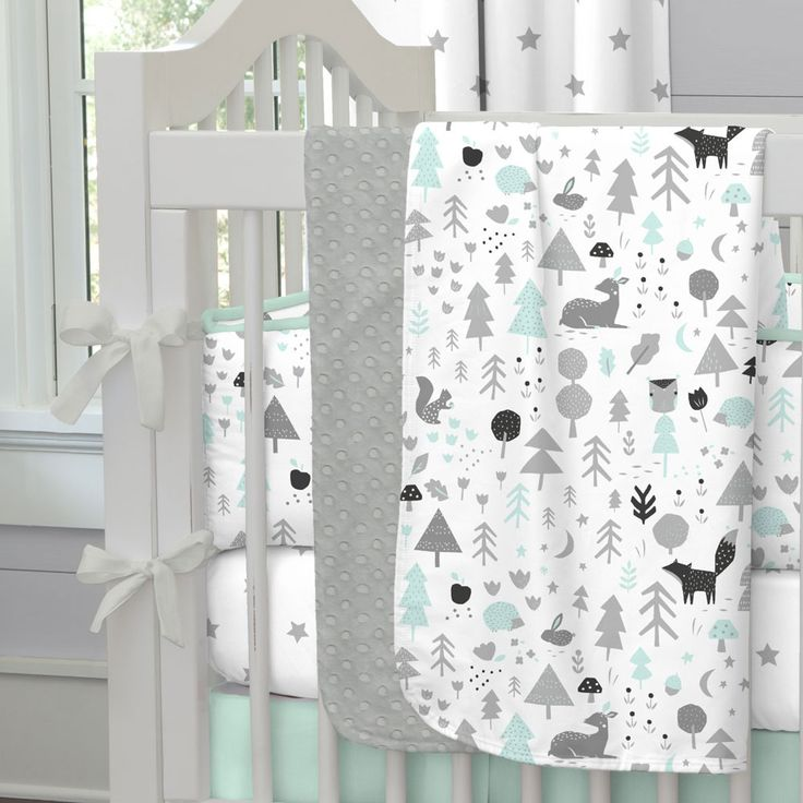 mint and gray baby woodland crib bedding by carousel designs