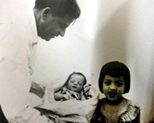 King Khan with his father and sister.