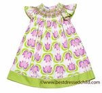 Anavini Girls Pink / Purple / Green Tulips Print Smocked Easter Dress
