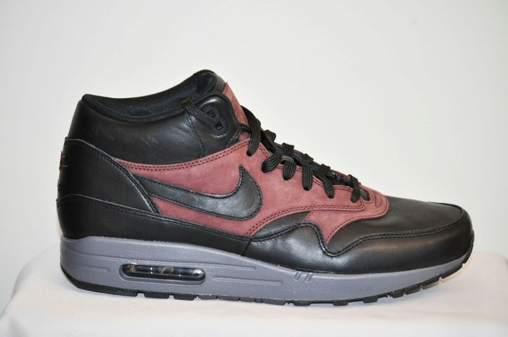 NIKE AIR MAX 1 Mid Deluxe QS Leather Black Barkroot Brown Men's Size 10 D NEW #Nike #Fashion