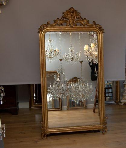 Kroonluchter galerie grote franse spiegel met kuif for Grote zilveren spiegel