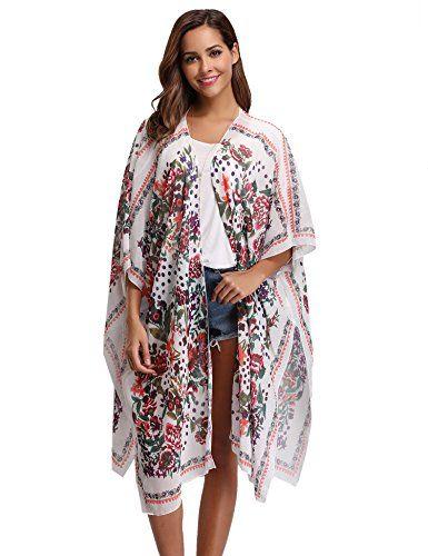 5fab0d6081 Kimono long femme gilet cardigan Été Floral Imprimé en mousseline Soie  Vêtement De Plage Soleil bohème Vacances Cover up ample chemisier top  transparent ...