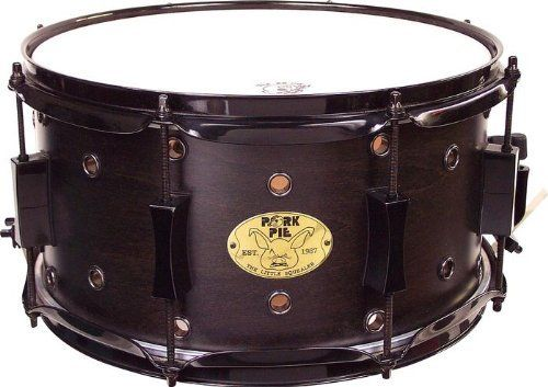 "Pork Pie Little Squealer Snare Drum - 13"" x 7"", Black Ebony Satin by Pork Pie. $199.99. The 13""x7"" Pork Pie Little Squealer Snare Drum is crafted from 8-plies of maple. This Pork Pie snare boasts a black ebony satin finish, all black hardware, cast hourglass lugs, and 2.3mm heavy-duty hoops. Bearing edges are hand sanded and precision cut. Pork Pie builds the Little Squealer snare with painstaking attention to detail.Pork Pie snare drums are coveted and played by drummer..."