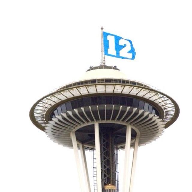 12th Man Flag!! Seattle Seahawks Fans :D Space Needle, 1/14/11