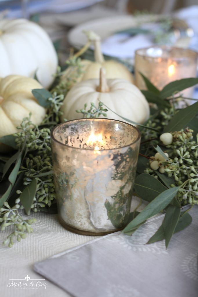 Neutral Fall Table With White Pumpkins And Eucalyptus White Pumpkins Wedding Pumpkin Table Decorations Pumpkin Wedding