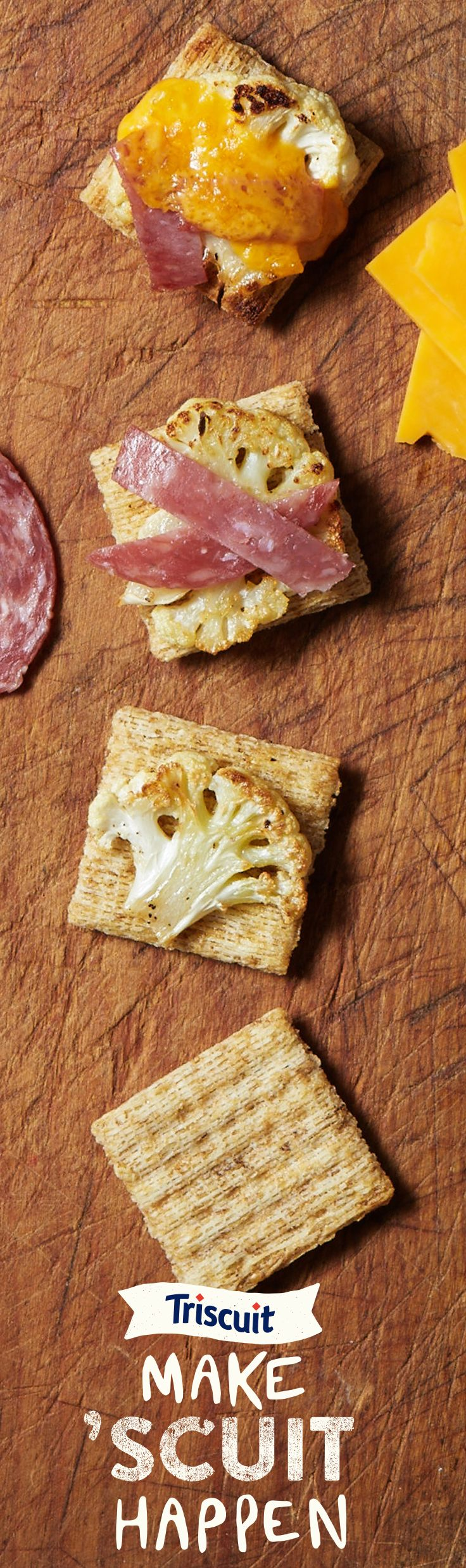 All it takes is three ingredients for a deliciously simple snack. Try salami, roasted cauliflower and cheddar cheese on a TRISCUIT cracker.