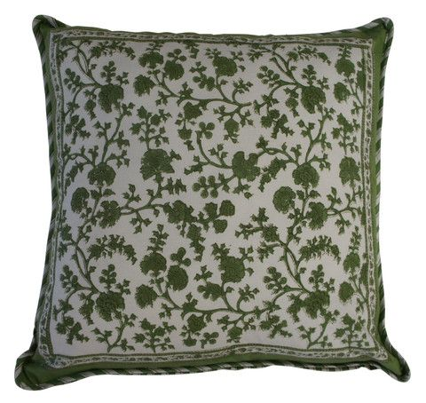 Printed forest green cotton cushion on a natural background. The reverse has a complimenting stripe in the same colours.  Hand block printed in India using ethical and environmentally friendly construction that preserves and celebrates traditional artisan skills.  100% natural cotton cover with NZ made Polyfill inner.  Dimensions: 45cm x 45cm