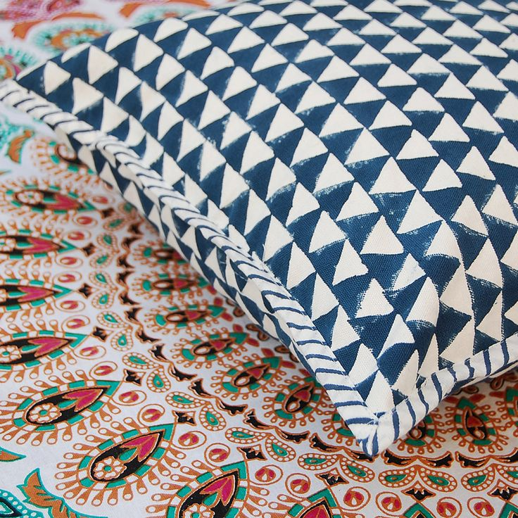 """Hand Block Printed Cotton Canvas Handmade Cushion Cover Ikat Print Designer Home Decor  Pillow Cover Case 16x16"""" KH02 by ArtofPinkcity on Etsy"""