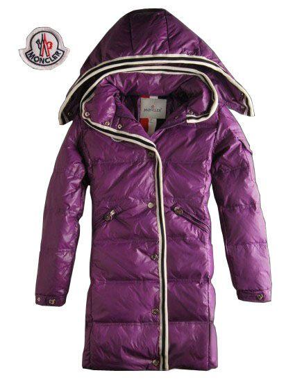 Hot Shop Moncler Women Down Coats With Hood Zip Purple Outerwear - $220.15  Cheap Moncler Coats