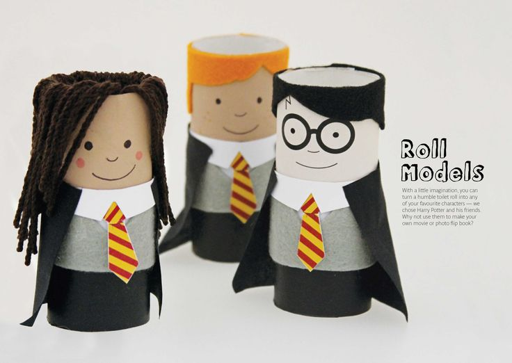Harry Potter characters from toilet rolls