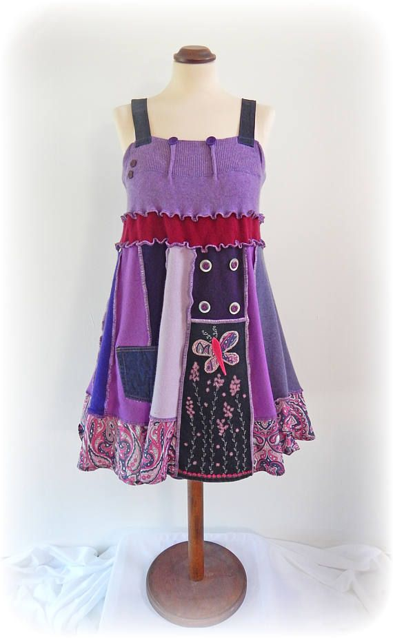 Purple Sundress Flower Pinafore Dress Upcycled Sundress