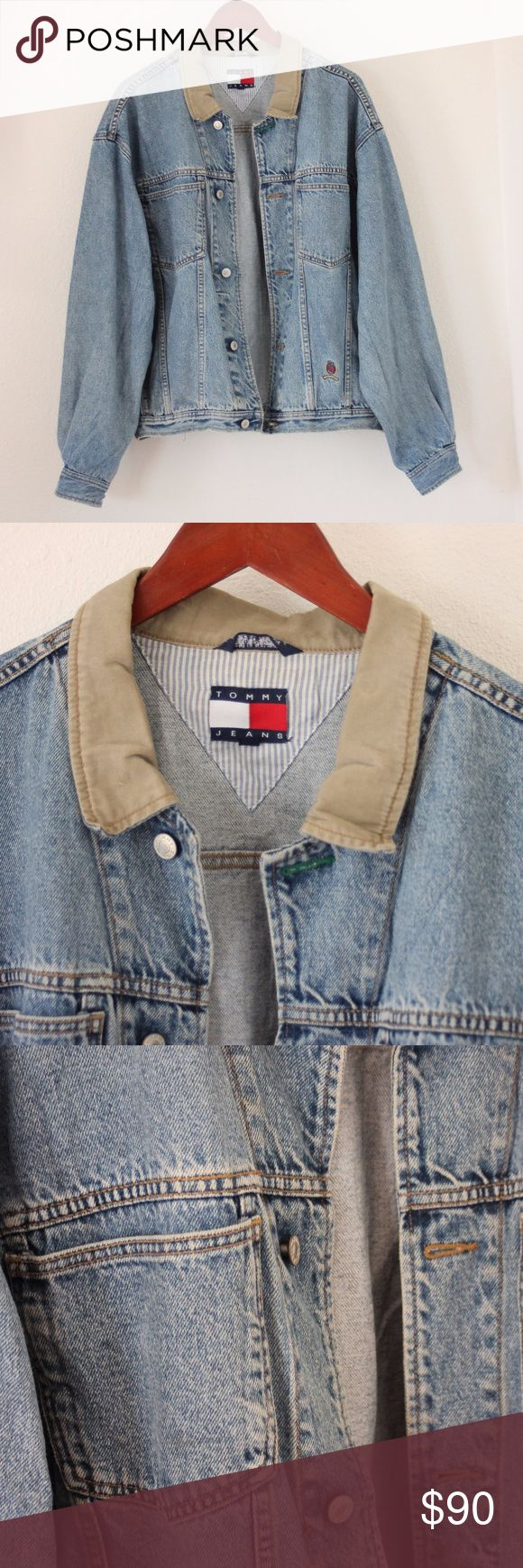 Vintage Tommy Hilfiger Denim Jacket amazing light wash 90s Tommy Hilfiger jacket with a khaki collar. soft, broken in denim. excellent condition. fits oversized Tommy Hilfiger Jackets & Coats Jean Jackets