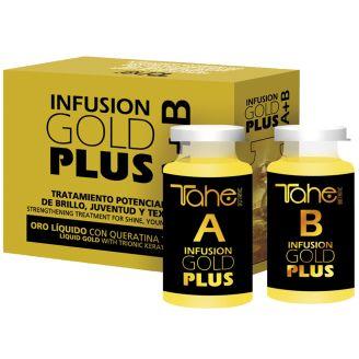 INFUSION GOLD PLUS Θεραπεία άμεσης αναδόμησης και επαναφοράς των μαλλιών με ενεργή κερατίνη και υγρό χρυσό!