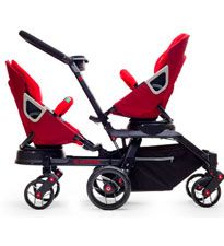 Orbit Baby Double Helix  Orbit Baby strollers are known for fashionable design accompanied by all the bells and whistles. This Orbit Baby double stroller doesn't disappoint. The seats can rotate so your kids are facing each other, away from each other or the same way (super cool!). We love that it's versatile too -- it can be transformed into a single stroller for outings with just one kid. Price TBD, available in spring 2012, OrbitBaby.com
