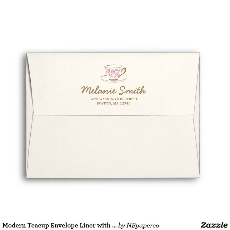 Modern Teacup Envelope Liner with Return Address Envelope with faux kraft paper patterned liner and printed return address on flap with a hand painted watercolor teacup.
