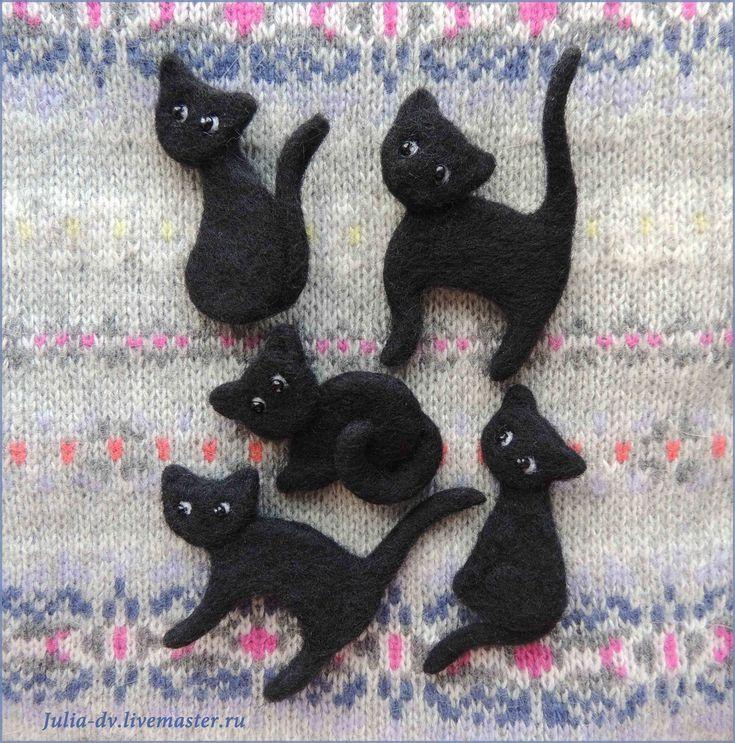 Купить Черный кот ( черная кошка ) брошь войлочная валяная шерстяная в интернет магазине на Ярмарке Мастеров