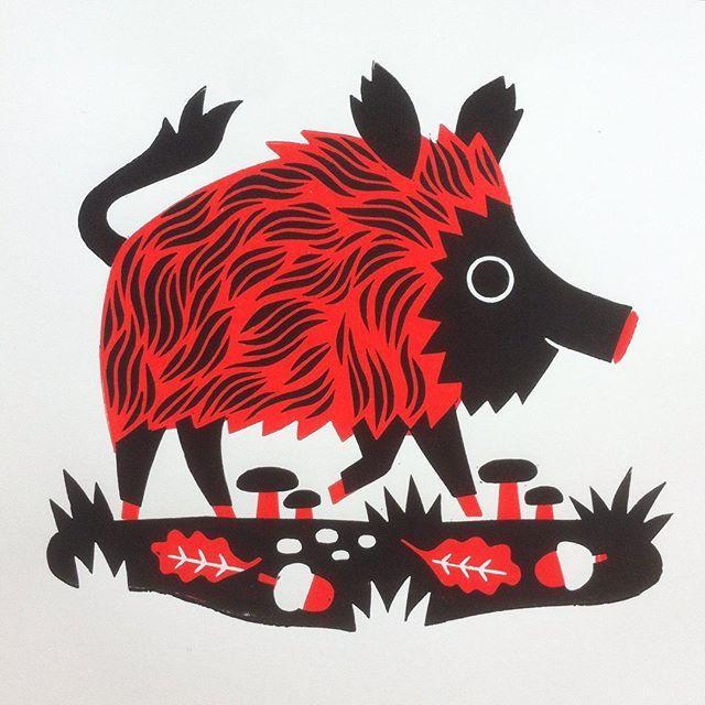 #linocut #tillhafenbrak #boar #illustration