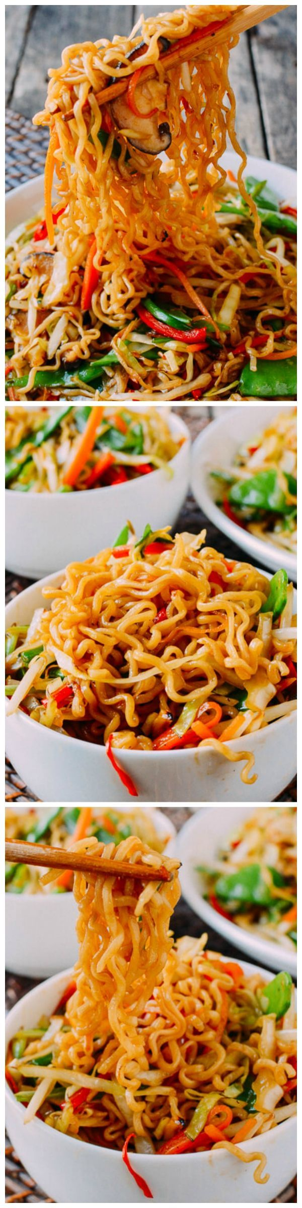 Pan-fried Vegetable Ramen - Toss the flavor packs in favor of colorful julienned veggies!