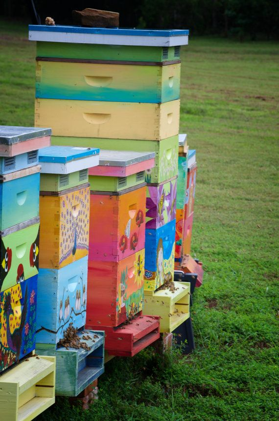 Blue Birds In The Moon Beehive Box For Honeybees Custom Painted Beekeeping