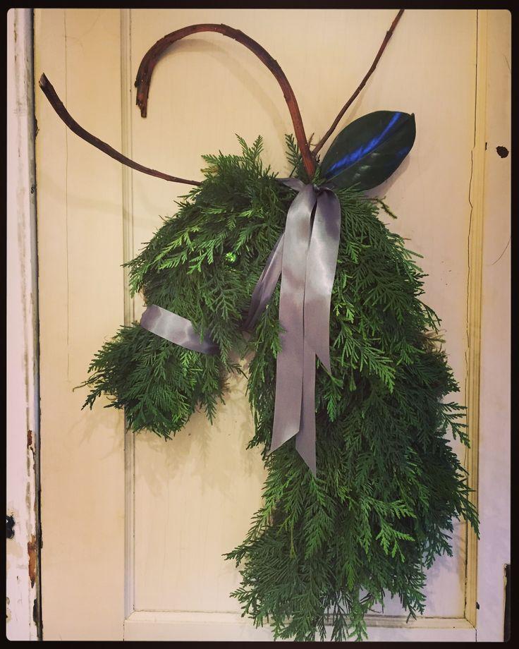 Reindeer Wreath, hand made using fresh greenery. by Sharlene Nielsen of Front Door Stories.