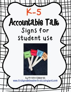 {K-5} CCSS Accountable Talk Student Signs