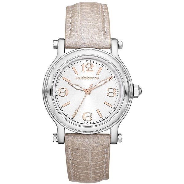 Liz Claiborne Round Gray Leather Watch ❤ liked on Polyvore