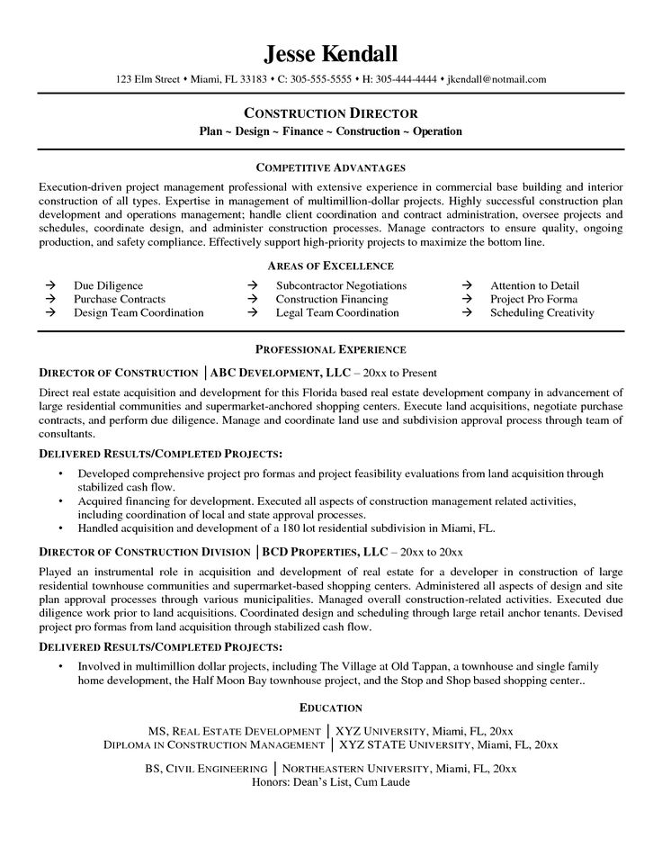 7 best Resume Vernon images on Pinterest Sample resume, Career - construction resumes