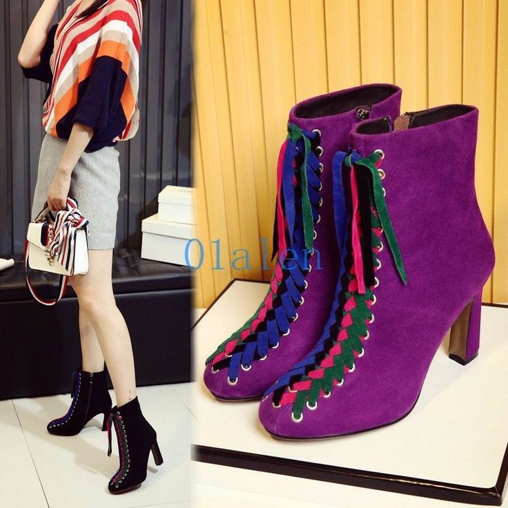 01 Womens Ankle Boots Cross Strappy Block High Heels Colorful Shoelaces Shoes