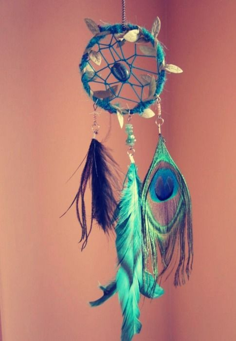 Beautiful teal Dream Catcher with pebble beads and peacock feathers