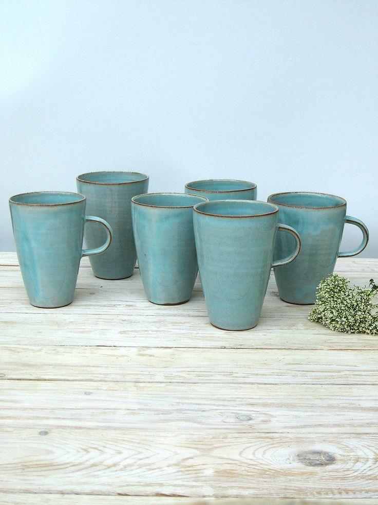 turquoise coffee mug large coffee mug tall coffee mug large tea mug large tea cup pottery mug handmade coffee mug ceramic coffee mug