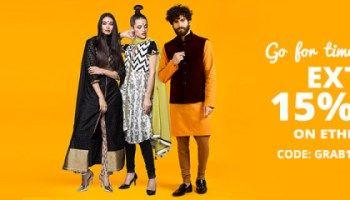 jabong offer :Get extra 15% off on Ethnic Wear