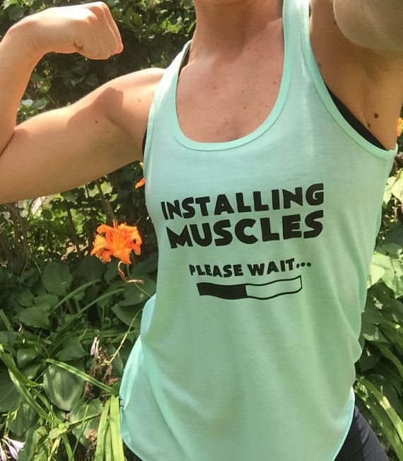 Installing Muscles Please Wait Shirt. Funny gym tanks and workout shirts for people who love lifting