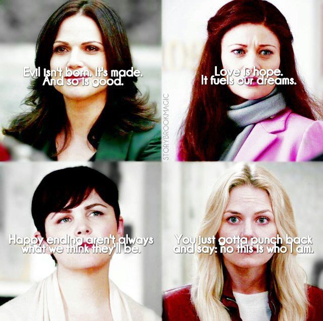 Regina, Belle, Snow, and Emma of Once Upon a Time