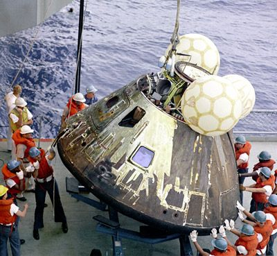 The recovery of the Apollo 13 Command Module. Credit: NASA