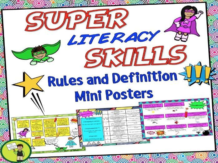 Mini Rule and Definition posters help reinforce students' understanding of various literacy skills including punctuation, vocabulary, parts of speech, word work and sentence structure. <br /> <br /> These posters feature some KEY definitions and rules. Th...
