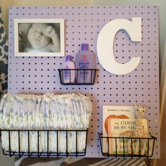 Peg Board Nursery Changing Table Organizer by Peggleboards on Etsy, $50.00