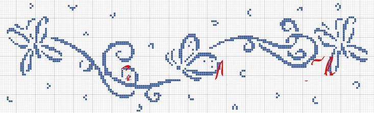 Schema punto croce Bordo-farfalle-ele