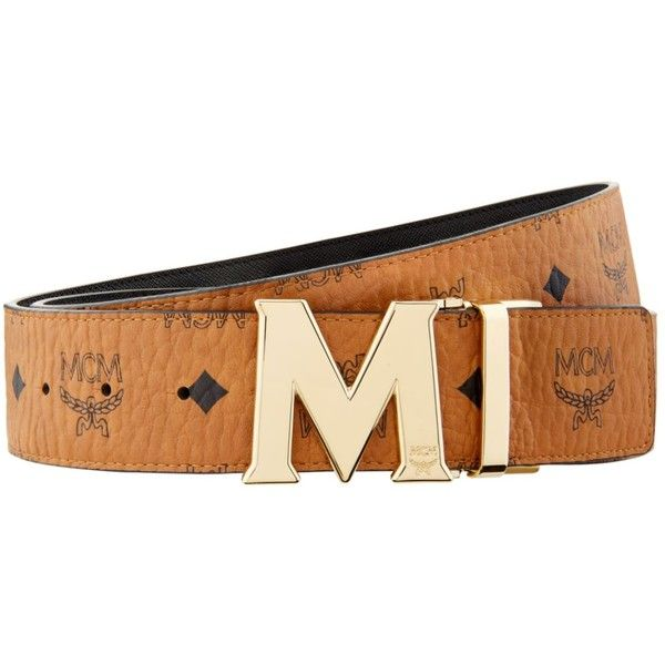MCM Claus Reversible Monogram Belt ($345) ❤ liked on Polyvore featuring accessories, belts, mcm belt, monogram belt, reversible belt, mcm and logo belts
