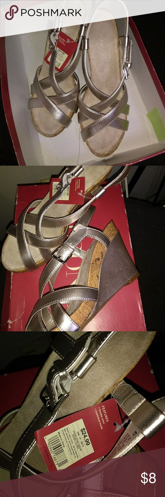 "MERONA new in box silver sandals Silver wedge sandals  Soft cushion insole  3"" heels   Size 8.5 Merona Shoes Wedges"