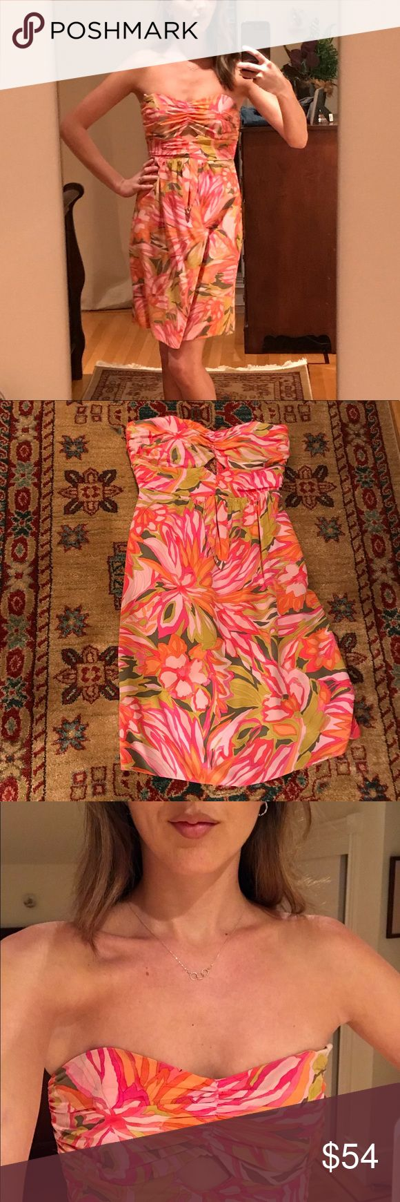 Tropical Alice & Trixie Silk Dress This gorgeous silk dress will stay up all night due to nice boning in the top! The silk is top-notch, and the pattern is so fun. Great dress for a night out or a summer wedding! Like-new condition and recently dry-cleaned. Alice & Trixie Dresses Midi