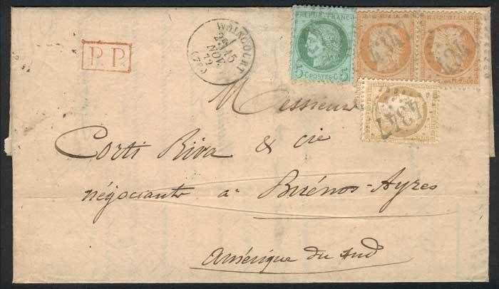 "France, 30/OCT/1872 DARGNIES - ARGENTINA: complete folded letter franked by Yv.38 pair + 53 + 59, numeral cancel ""4347"", and several other transit marks, very interesting 3-color postage, superb, rare! Starting Price (11/2016): 157 EUR."