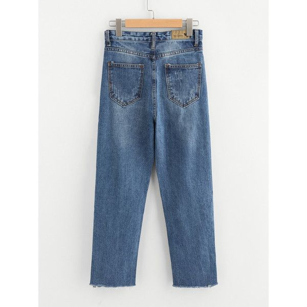 SheIn(sheinside) Bleach Wash Raw Hem Jeans (190 SEK) ❤ liked on Polyvore featuring jeans, blue denim jeans, long length jeans, raw hem jeans, straight denim jeans and summer jeans