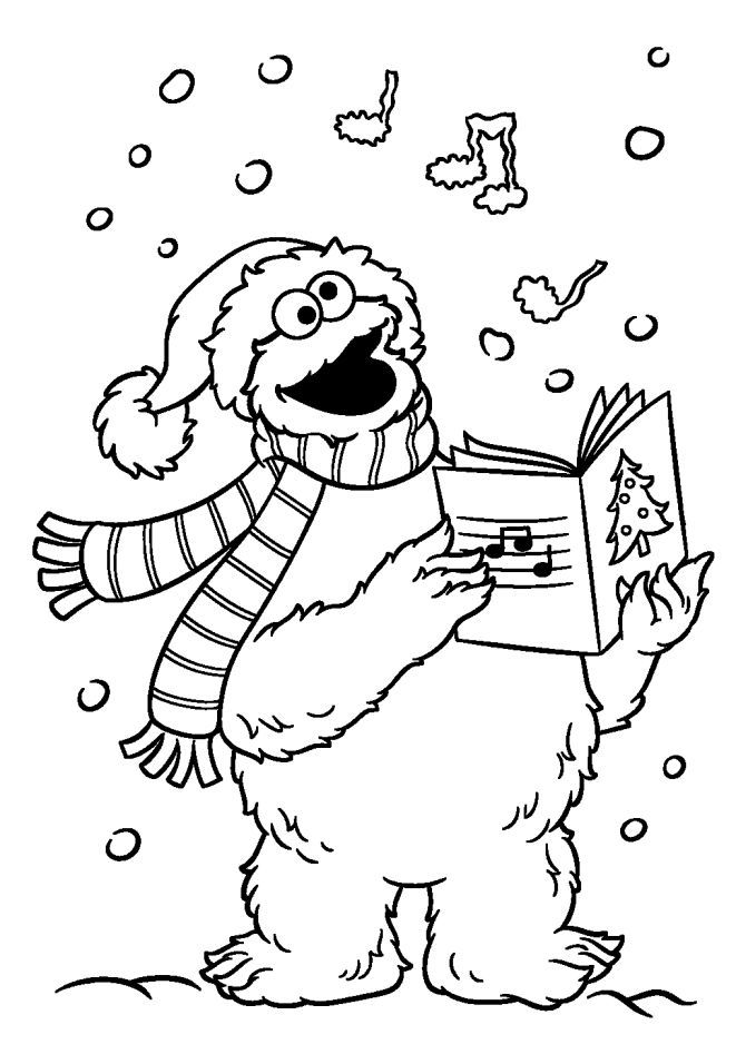 Cookie Monster Christmas Caroling Coloring Page Monster Coloring Pages Elmo Coloring Pages