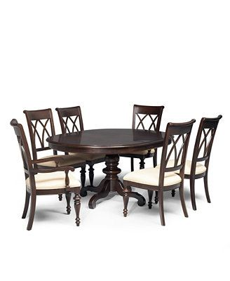 Bradford 7 piece round dining room furniture set macys for Kitchen table set 7 piece
