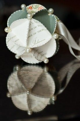 Wedding invitation ornaments-I wish I had saved the jillion wedding invites from my friends...these are cute! And a good way to save the memories without stuffing it in a box in the closet.