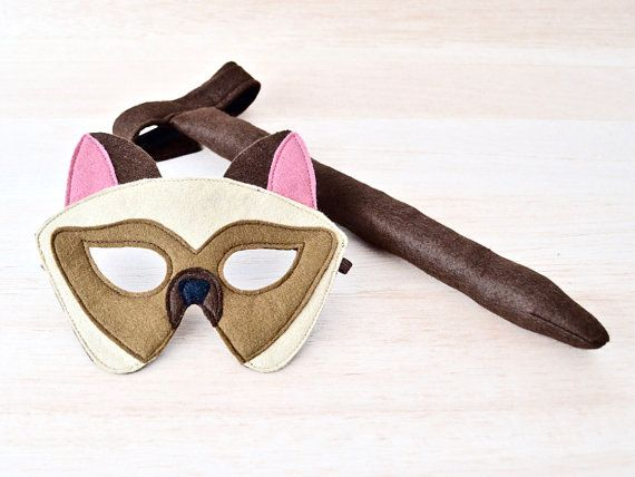 Cat Mask and Tail Kids Siamese Halloween Cat by BHBKidstyle