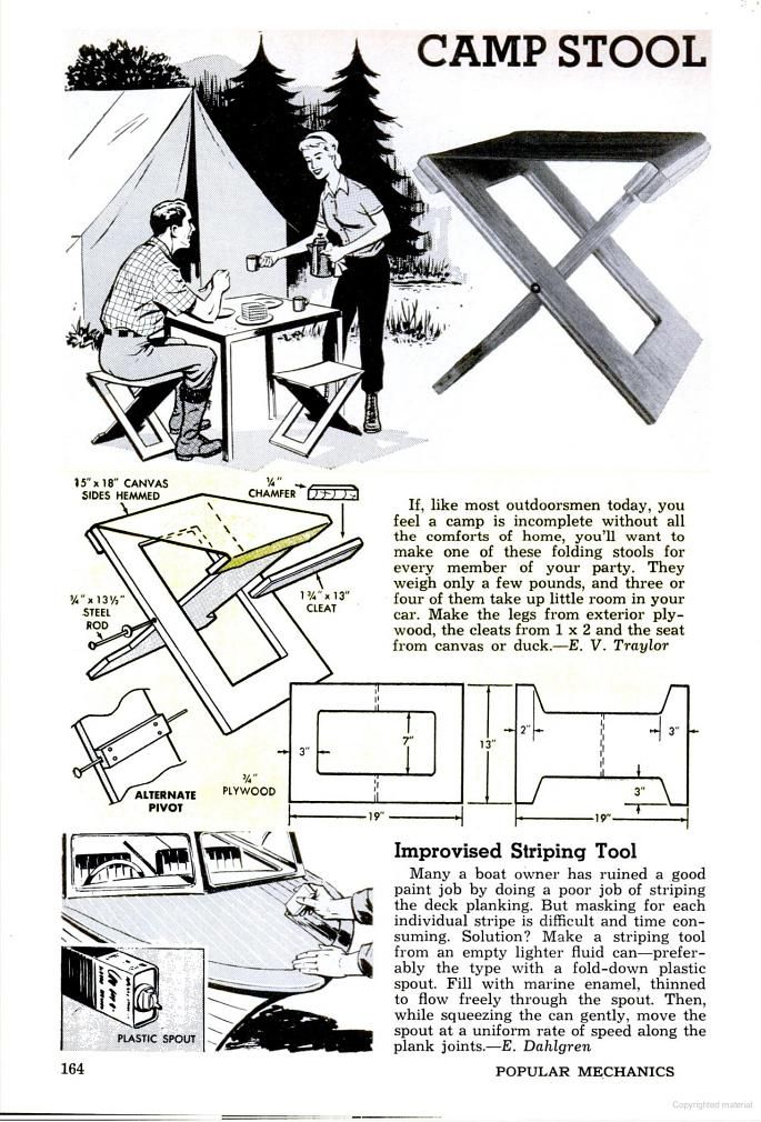 CAMP STOOL Popular Mechanics - Google Books  Popular Mechanics August 1963 page 164,  CAMP STOOL,  Easy woodworking project.